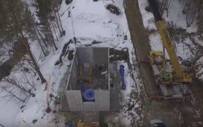 Video fra dambygging og turbinmontasje på Kvernåi